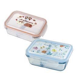 水豚君分隔保鮮盒570ml(橘+藍)