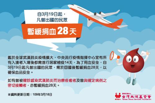 【公告】因應武漢肺炎(COVID-19)暫緩捐血28天說明