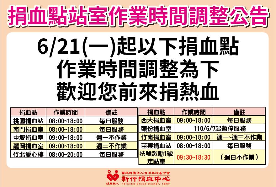 【公告】6/21起桃竹苗地區捐血站室作業時間調整公告